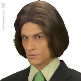 Perruque châtain homme cheveux long à 15.