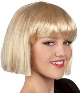 Perruque blonde carré avec frange épaisse