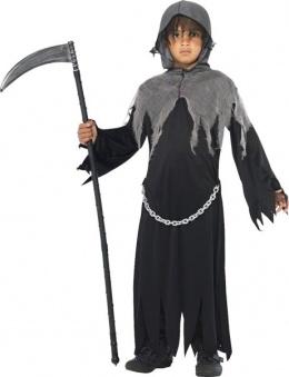 d guisement enfant gar on halloween le faucheur de la mort avec cape tunique et capuche 7 9. Black Bedroom Furniture Sets. Home Design Ideas