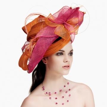 chapeau de c r monie c14 44 pour femme d cor de plusieurs bandes de chanvre de couleurs. Black Bedroom Furniture Sets. Home Design Ideas